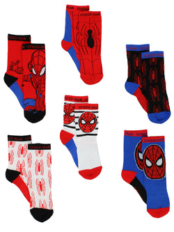 Super Hero Adventures Spider-Man Baby Toddler Boys 6 pack Athletic Crew Socks