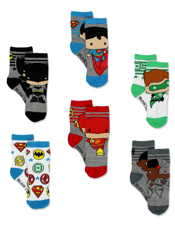 Batman Justice League Baby Toddler Boy's 6 pack Athletic Crew Socks