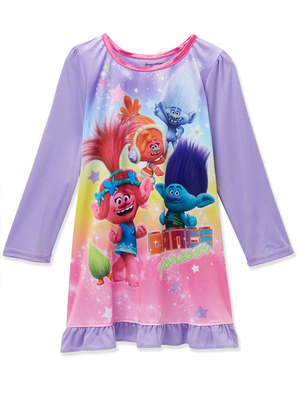 Trolls Poppy Toddler Girls Long Sleeve Nightgown Pajamas