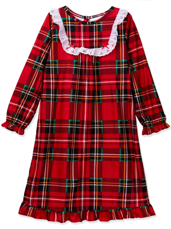 Komar Kids Peas & Carrots Toddler Girls Plaid Christmas Holiday Nightgown Pajamas