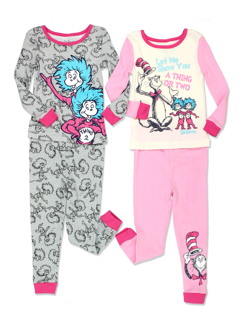 Dr. Seuss Toddler Girls Cotton 4 piece 2fer Pajamas Set