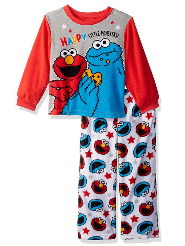 Sesame Street Elmo Cookie Monster Baby Toddler Boys 2-Piece Fleece Pajamas Set