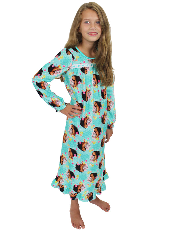 Disney Moana Girls Long Sleeve Flannel Granny Gown Nightgown Pajamas