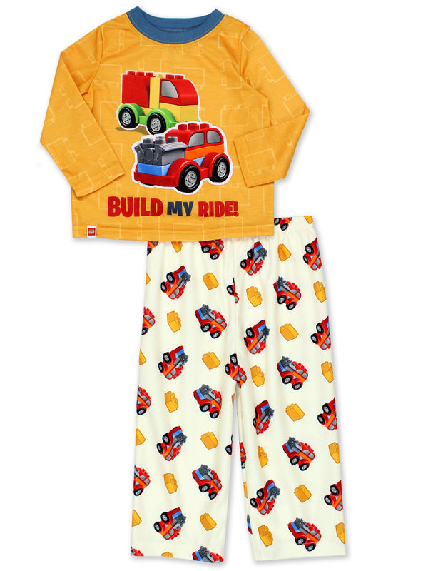 Lego Duplo Trucks Toddler Boys Poly Top with Flannel Pants Pajamas Set
