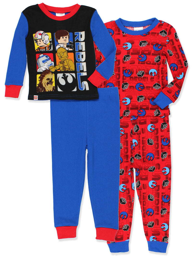 Lego Star Wars Glow in the Dark Boys 2fer 4 piece Cotton Pajamas Set