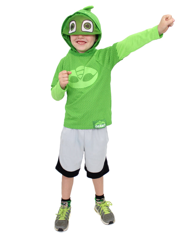 PJ Masks Toddler Boys Gekko Costume Hooded Tee with Mask