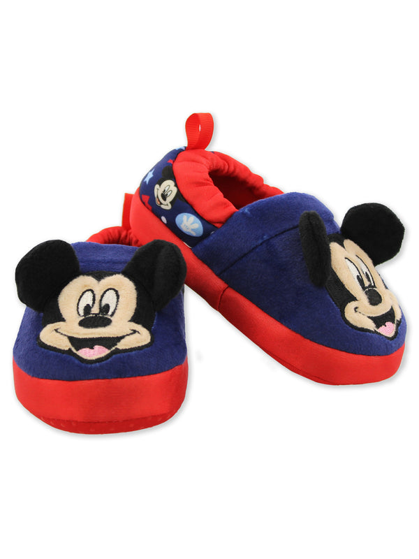 Mickey Mouse Toddler Boy's Plush A-Line Slippers with 3D Ears