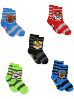 Paw Patrol Toddler Boys 5 Pack Crew Style Socks Set