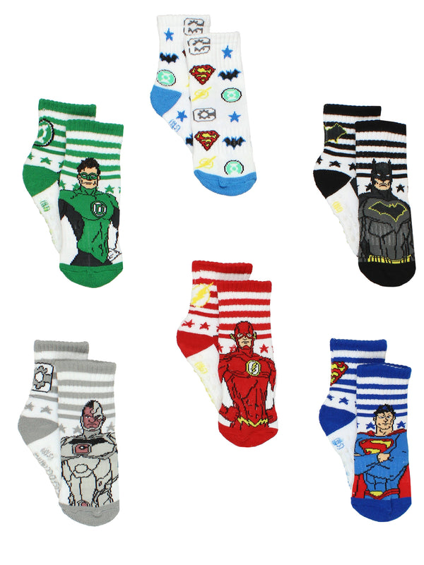 Justice League Toddler Boy's Athletic 6 pack Crew Socks with Grippers