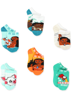 Disney Princess Moana Girl's Toddler Women's No Show 6 pack Socks Set