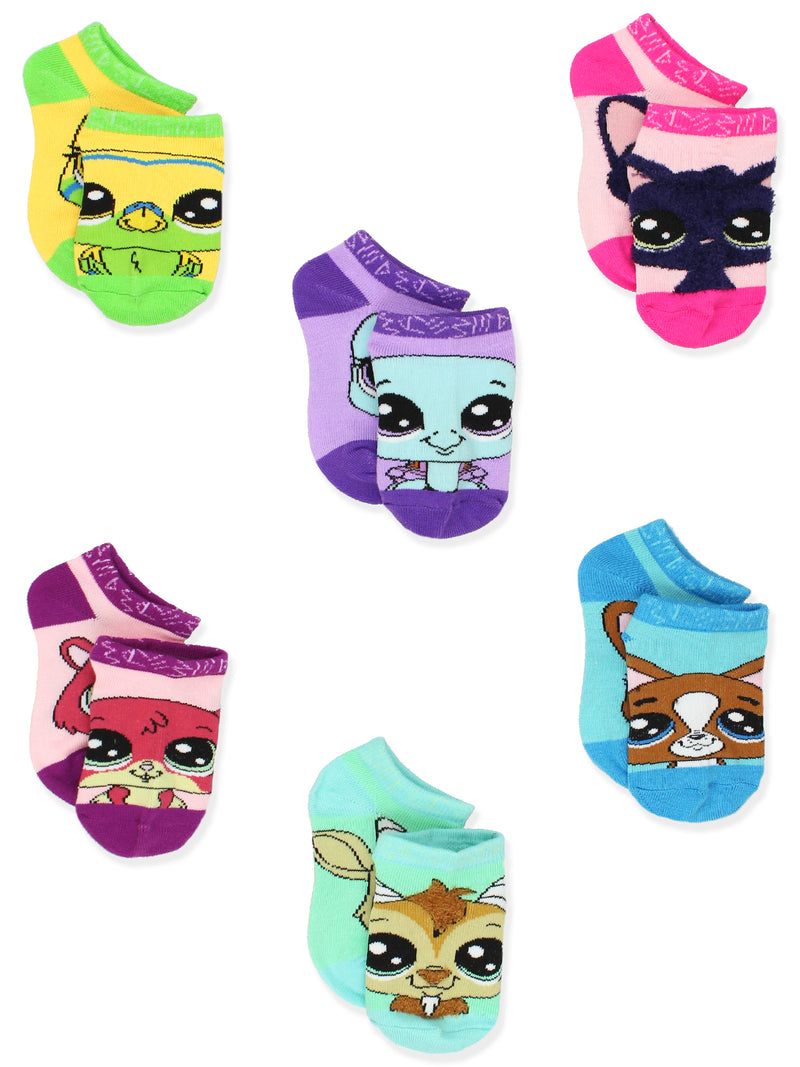 Littlest Pet Shop LPS Girl's Toddler Women's No Show 6 Pack Socks