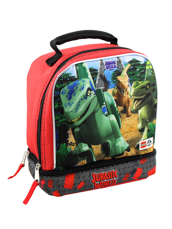 Lego Jurassic World Boys Soft Dual Compartment Insulated School Lunch Box