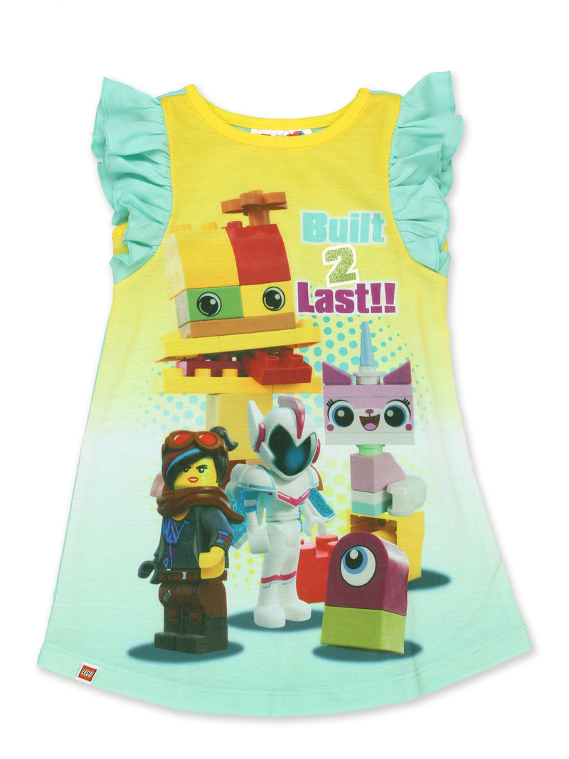 Lego Movie 2 The Second Part Toddler Girls Ruffle Cap Sleeve Nightgown Pajamas