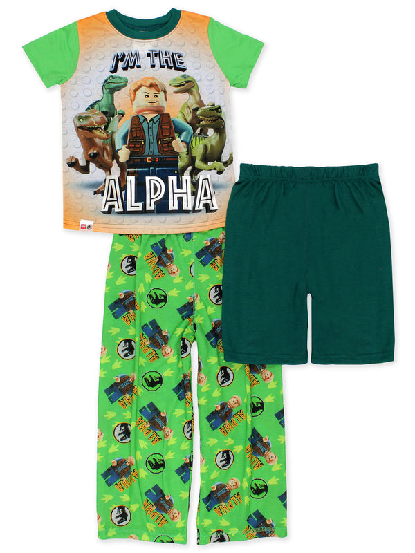 Lego Jurassic World Alpha Dinosaur Boys 3-piece Pajamas Set