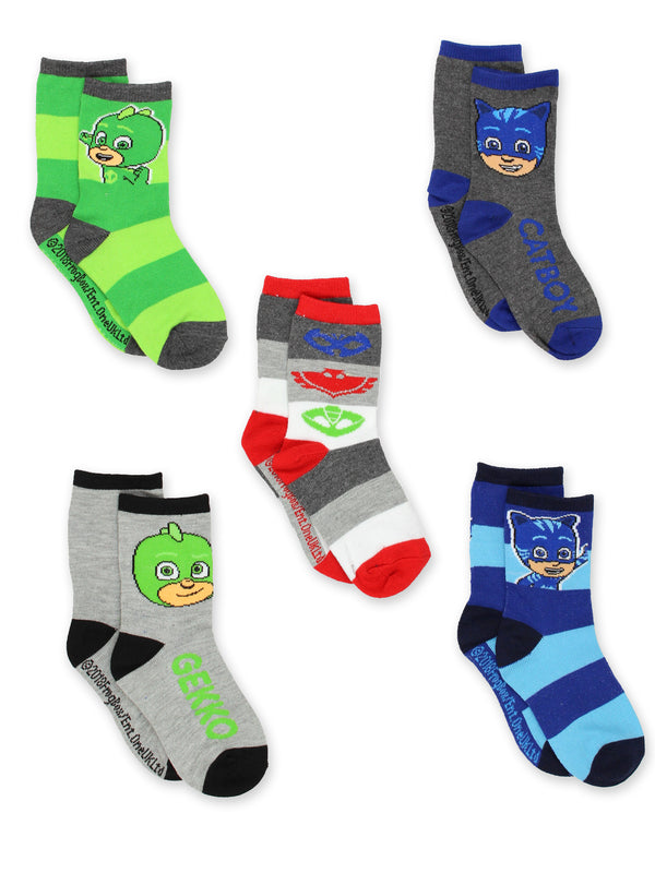 PJ Masks 5 pack Boys Toddler Crew Socks Set