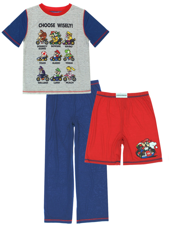 K183947MA-MarioKart-Boys-3-piece-Pajama-set-Choose-Wisely-Short-Sleeve-Pant-Short-PJ-Set-Super-Mari