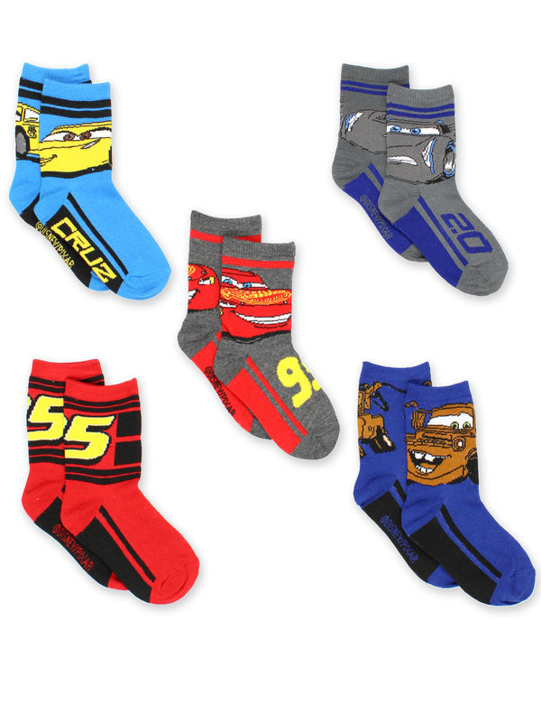 Disney Cars 3 Boys Toddler 5 pack Crew Socks