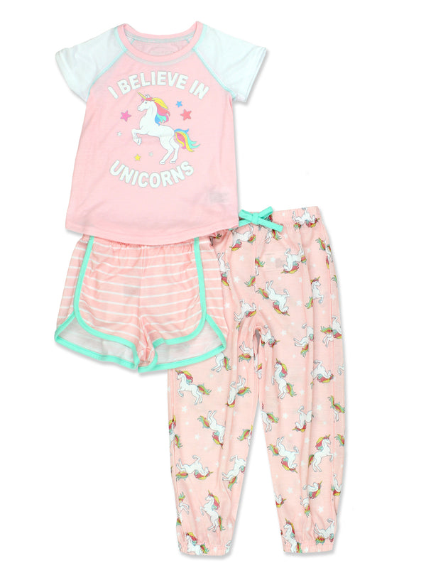 Komar Kids Unicorn Girl's Short Sleeve 3 Piece Jersey Shorts Pants Pajamas Set