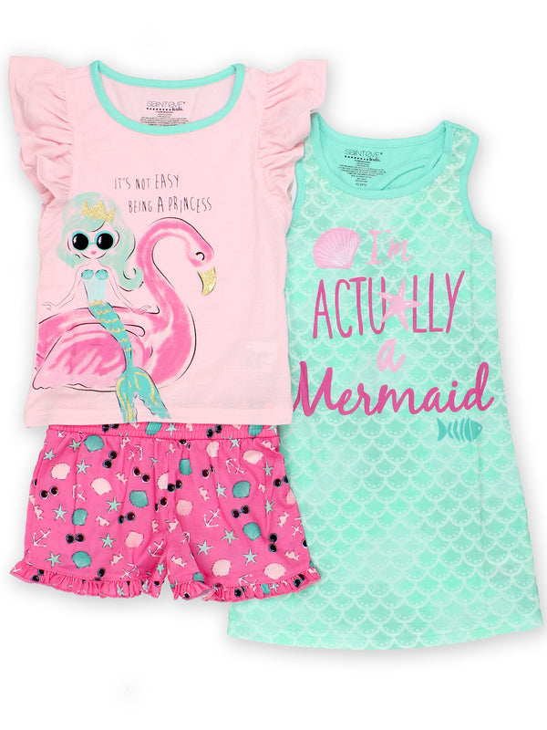 Komar Kids Mermaid Girl's 3 Piece Short Sleeve Top Shorts Nightgown Pajamas Set