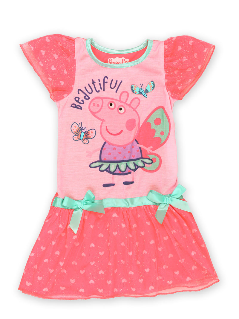Peppa Pig Toddler Girl's Short Sleeve Dress Up Fantasy Gown Nightgown Pajamas