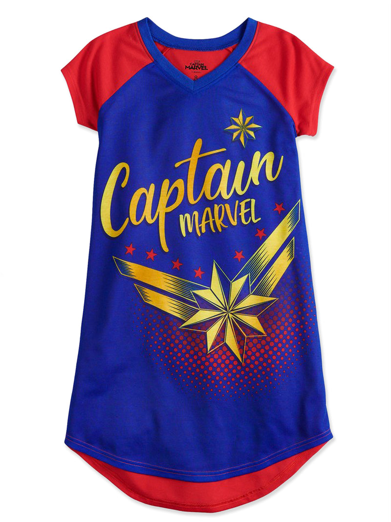 Captain Marvel Girl's Short Sleeve Nightgown Dorm Pajamas