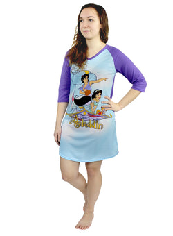 Disney Aladdin Princess Jasmine Women's 3/4 Sleeve Dorm Nightgown Pajamas