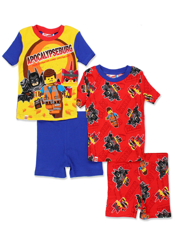 Lego Movie 2 Boy's 4 piece Short Sleeve Tee Shorts Pajamas Set