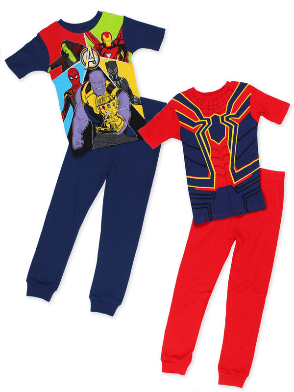 Avengers End Game Superhero Boys 2fer 4-Piece Short Sleeve Cotton Pajamas Set