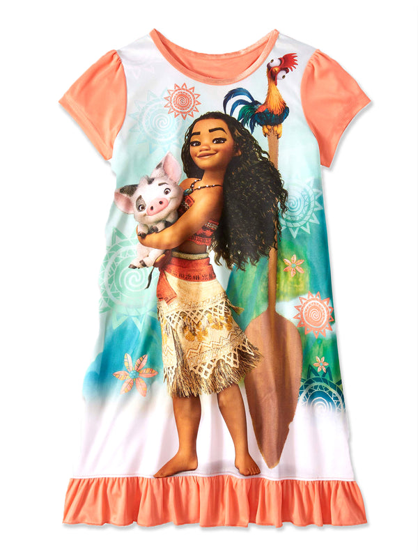 Disney Princess Moana Girls Short Sleeve Nightgown Pajamas