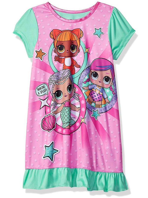 L.O.L. Surprise! Dolls Girls Short Sleeve Nightgown Pajamas
