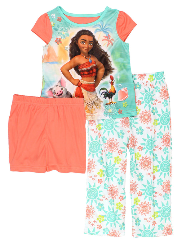Disney Moana Toddler Girl's Cap Sleeve 3-piece Pajama Set