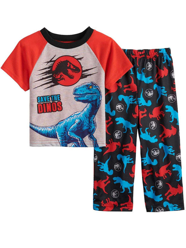 Jurassic World Dinosaurs Toddler Boy's 2 piece Short Sleeve Pajamas Set