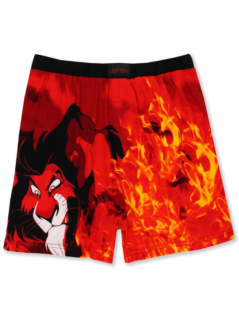 Disney The Lion King Scar Hyenas Mens Briefly Stated Boxer Lounge Shorts