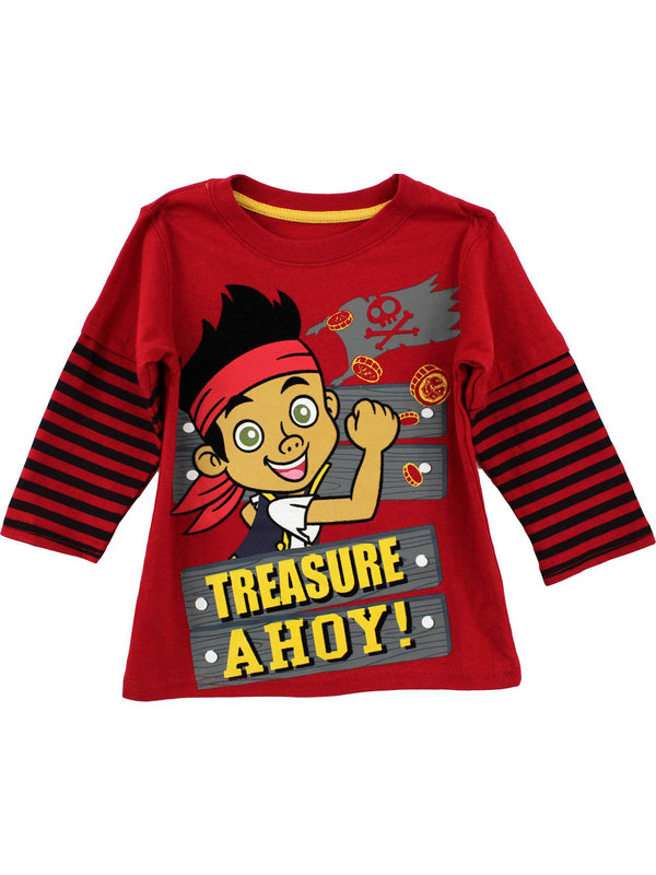 "Disney Jake the Pirate ""Treasure Ahoy"" Red Toddler Long Sleeve Layered T-Shirt"