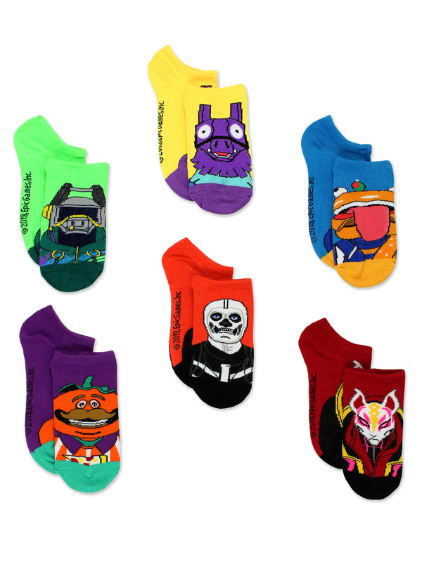 Fortnite Battle Royale Gamer Boy's Girl's Teen Adult 6 pack No Show Socks