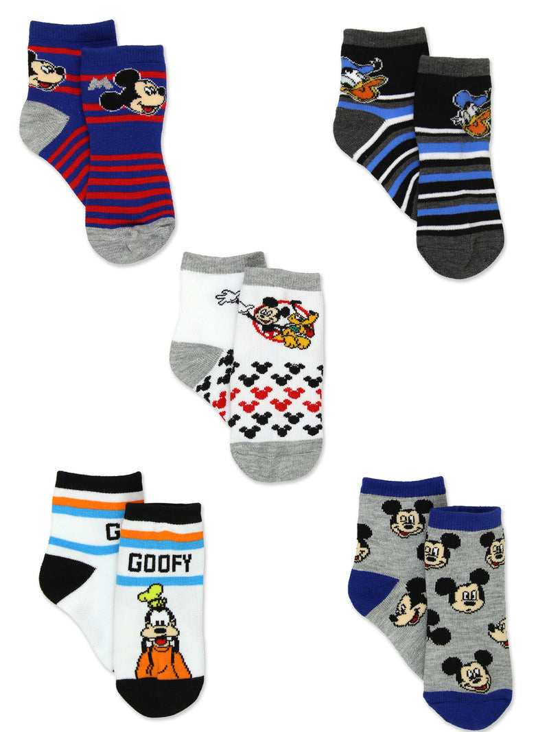 Mickey Mouse Toddler Boys 5 Pack Crew Style Socks Set