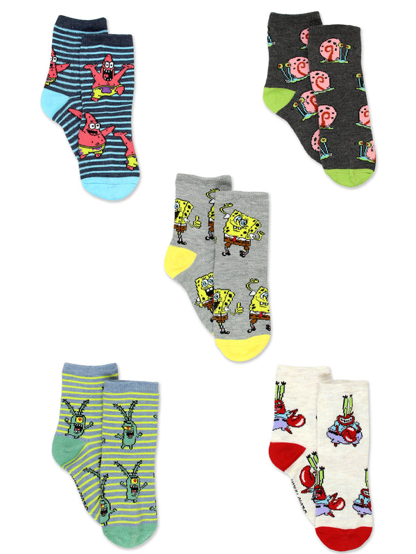 Spongebob Squarepants Boys Girls Toddler 5 pack Crew Socks