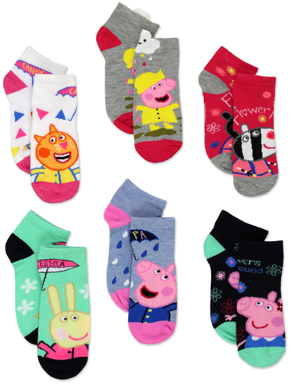 Peppa Pig Girls 6 Pack Quarter Socks Set
