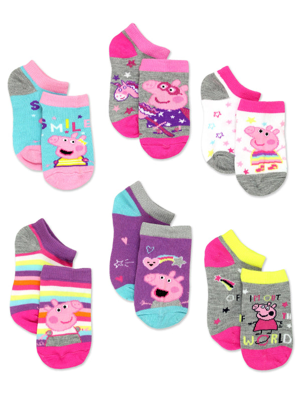 Peppa Pig Girls Toddler 6 Pack Socks Set<br>