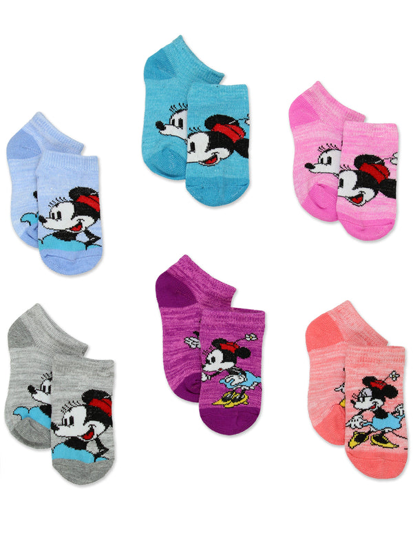 Minnie Mouse Classic Toddler Girls 6 Pack No Show Socks<br>
