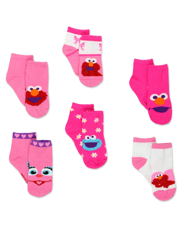 Sesame Street Elmo Abby Cookie Monster Toddler Girls 6 pack Quarter Socks