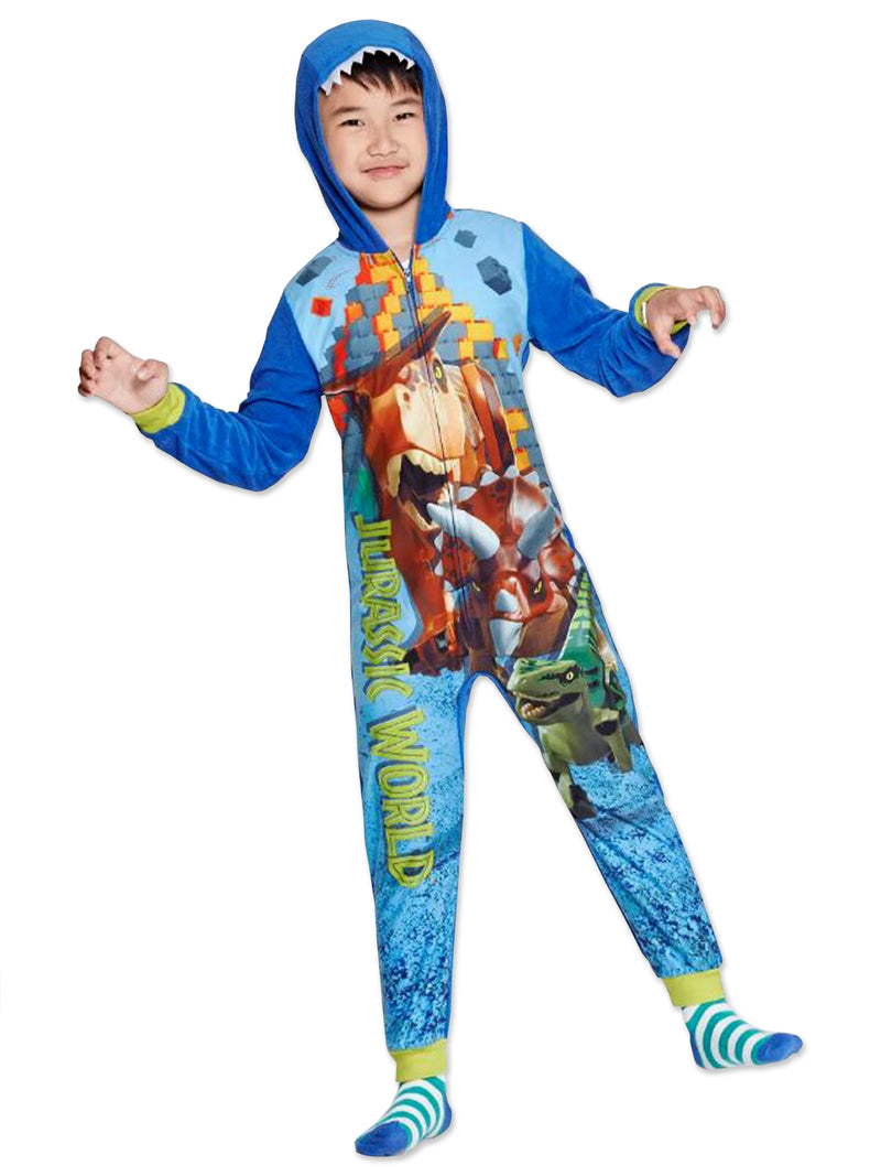 Lego Jurassic World Dinosaur Boys Micro Fleece Hooded Union Suit Pajamas