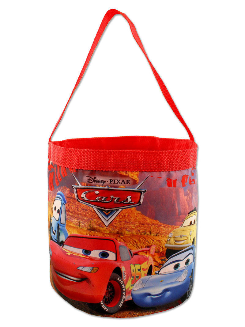 Disney Cars 3 Boys Collapsible Nylon Gift Basket Bucket Toy Storage Tote Bag