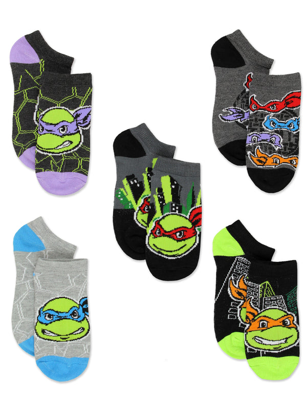 TMNT Teenage Mutant Ninja Turtles Boys 5 pack No Show Style Socks Set