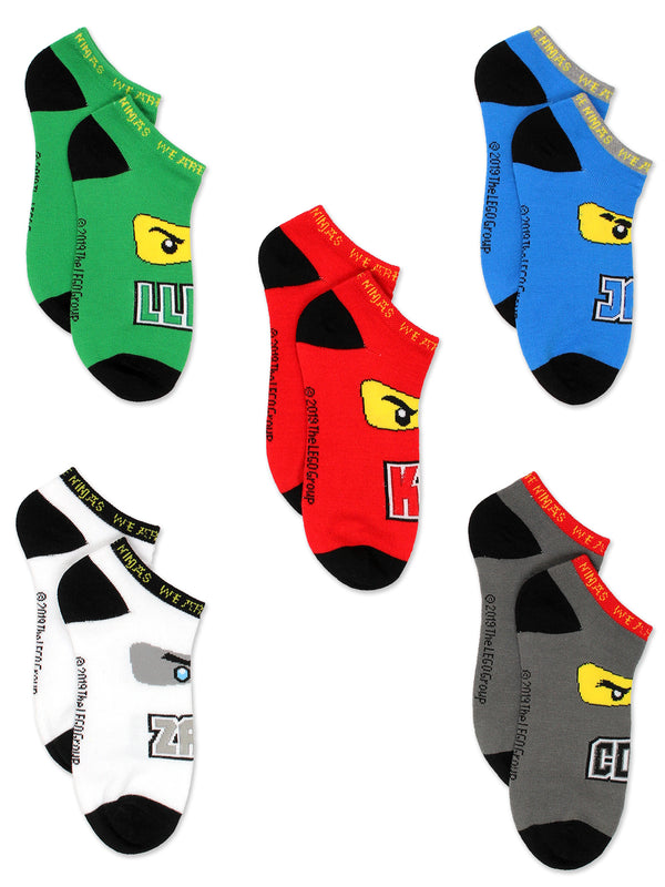 Lego Ninjago Kids Boys 5 pack No Show Sock Set