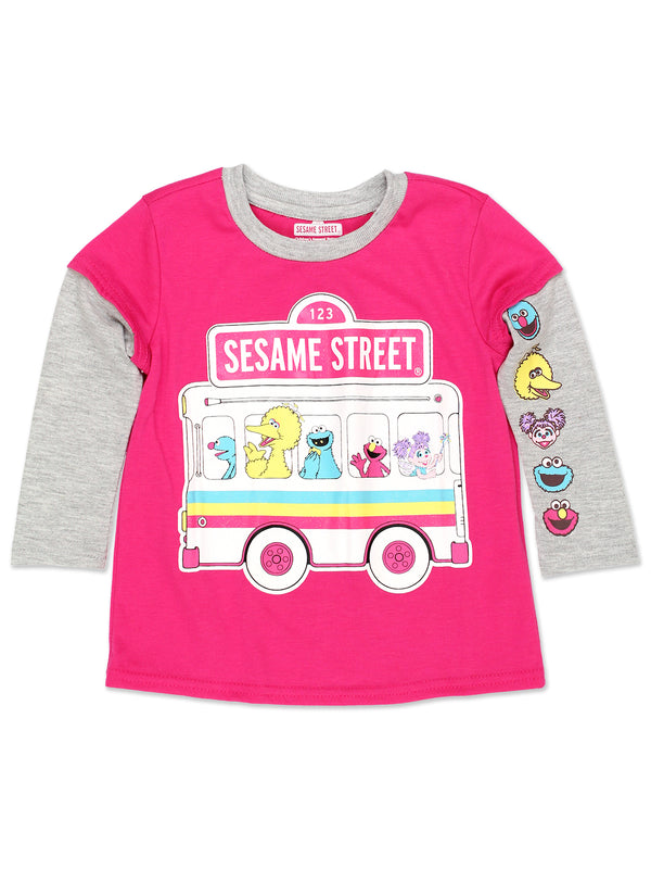 Sesame Street Gang Baby Toddler Girls Long Sleeve T-Shirt Tee