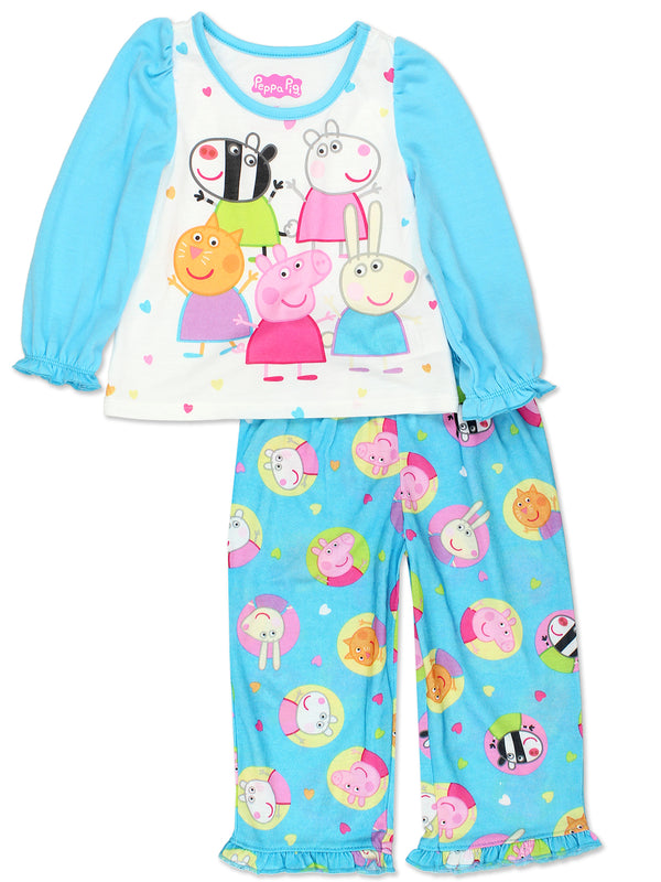 Peppa Pig Girls Toddler Soft Polyester Long Sleeve Pajamas