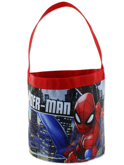 Marvel Spider-Man Boys Collapsible Nylon Gift Basket Bucket Toy Storage Tote Bag
