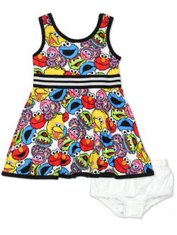 Sesame Street Elmo Baby Toddler Girls Fit and Flare Ultra Soft Dress