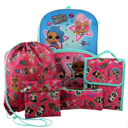 "L.O.L. Surprise! Dolls Girls 16"" Backpack 5 piece School Set (One Size, Blue/Red)"